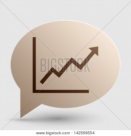 Growing bars graphic sign. Brown gradient icon on bubble with shadow.
