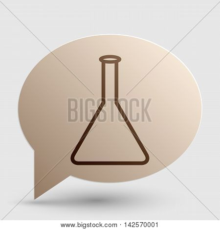 Conical Flask sign. Brown gradient icon on bubble with shadow.