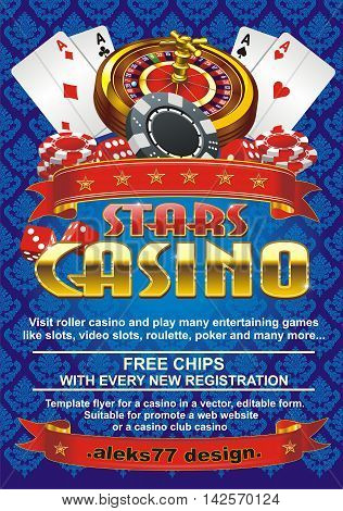 Template flyer for a casino on a blue background, editable vector shape. Suitable for promote a web website or a casino, club casino