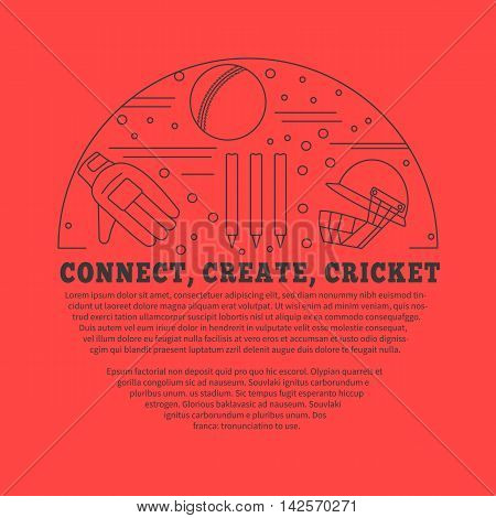 Flyer poster with cricket symbols and objects in circle with place for text. Vector template with professional cricket sport graphic design elements in thin line style isolated on red background.