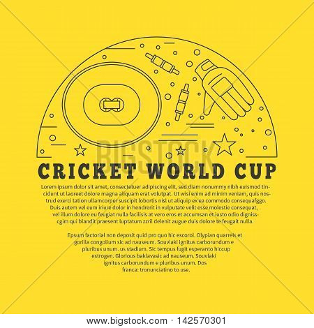 Flyer poster with cricket symbols and objects in circle with place for text. Vector template with professional cricket sport graphic design elements in thin line style isolated on yellow background.