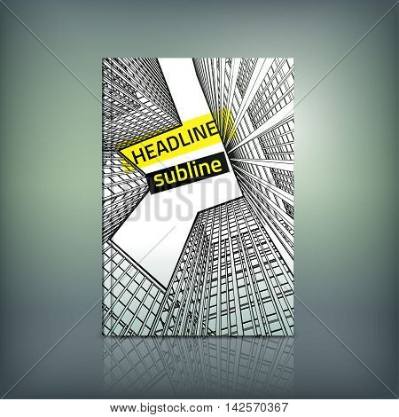 Vector business brochure cover template. Modern skyscraper background for poster, print, flyer, book, booklet, brochure and leaflet design. Editable graphic collection in white, yellow and black colors