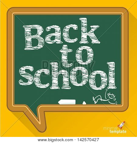 Welcome back to school abstract  background with chalk drawn sketch style letters on the blackboard, vector illustration.