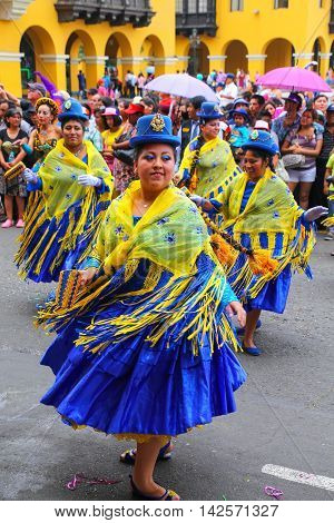 Lima, Peru-january 31: Unidentified Women Perform During Festival Of The Virgin De La Candelaria On