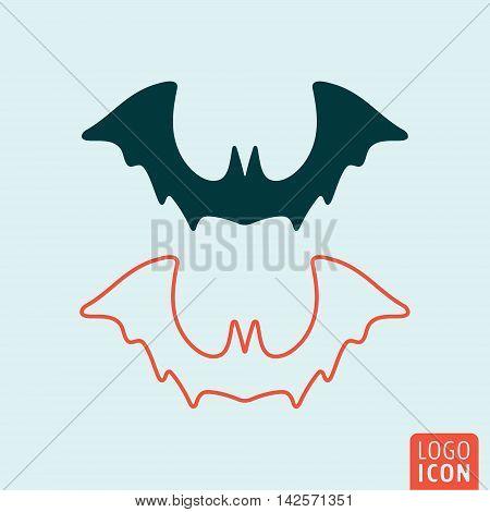 Bat icon. Halloween bat silhouette. Vector illustration