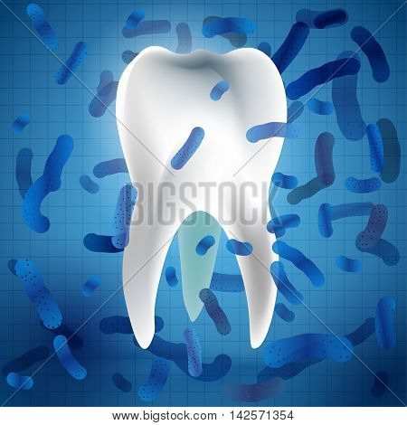 Microscopic bacterias and viruses around tooth in a virtual mouth. Hygiene medical concept. Vector illustration in white and blue colors
