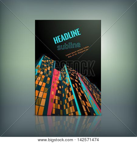 Vector business brochure cover template. Modern backgrounds for poster, print, flyer, book, booklet, brochure and leaflet design. Editable graphic collection in blue, pink, orange and black colors
