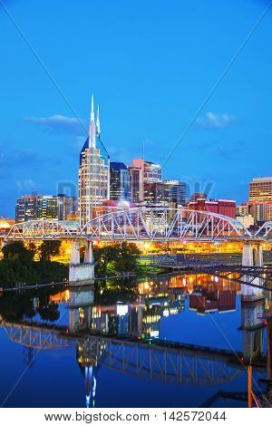 Downtown Nashville Tennessee cityscape in the evening