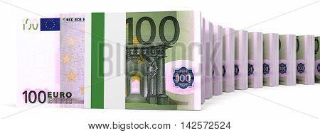 Stacks Of Money. One Hundred Euros.