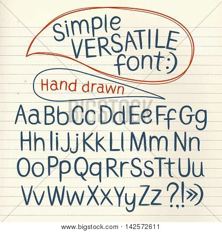 Hand drawn vector ABC letters one line paper backkground. Versatile doodle typeset for your design.