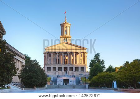 Tennessee State Capitol building in Nashville TN in the morning