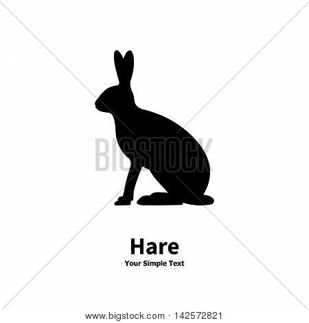 Vector illustration of black silhouette of hare. Isolated on white background. Hare is a side view profile.