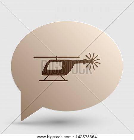 Helicopter sign illustration. Brown gradient icon on bubble with shadow.