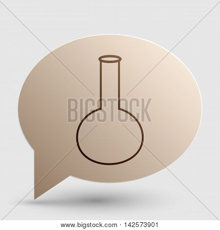 Tube. Laboratory glass sign. Brown gradient icon on bubble with shadow.