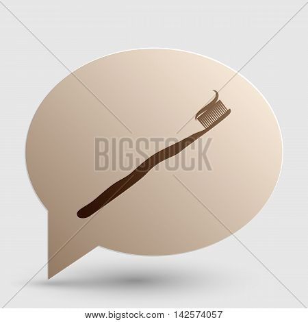 Toothbrush with applied toothpaste portion. Brown gradient icon on bubble with shadow.