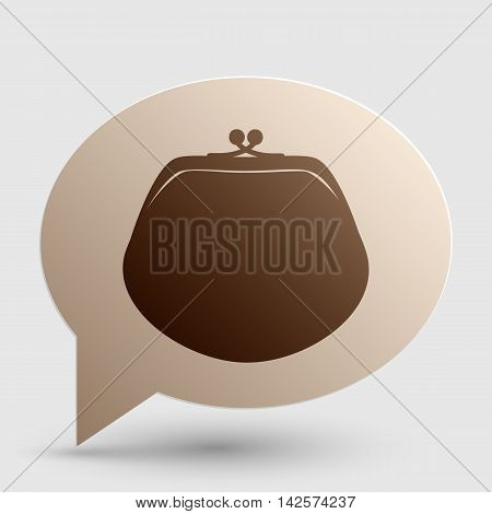 Purse sign illustration. Brown gradient icon on bubble with shadow.