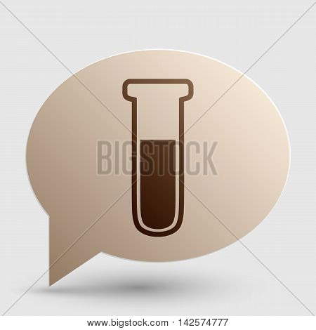 Medical Tube icon. Laboratory glass sign. Brown gradient icon on bubble with shadow.