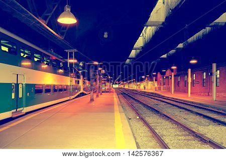 Toronto, Canada - June 27, 2011: Passenger train stands at Toronto Union station.