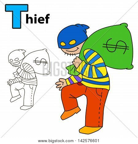 Thief. Coloring book page. Vector illustration isolated on white background