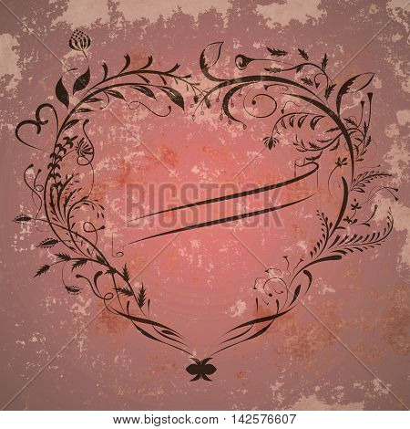 Vintage valentine background with heart frame and ribbon