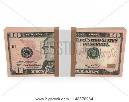 Pack Of Banknotes. Ten Dollars.