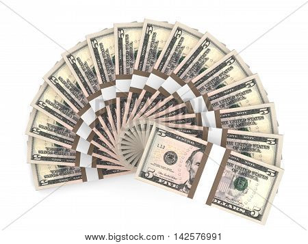 Money fan on white background. Five dollars. 3D illustration.