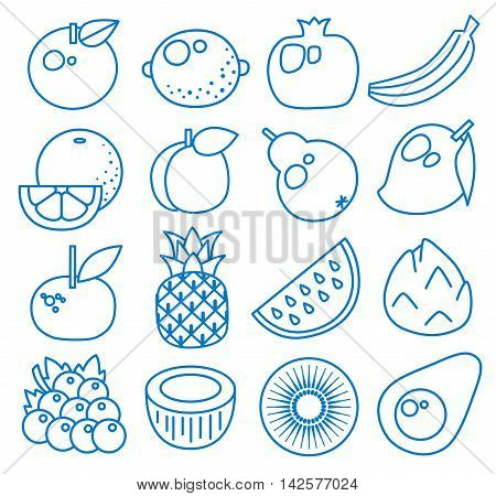 Fruits. Set of line icons. Vector illustration. Apple, lemon, pomegranate, banana, orange, peach, pear, mango, mandarin, pineapple, watermelon, pitaya, grape, coconut, kiwi, avocado