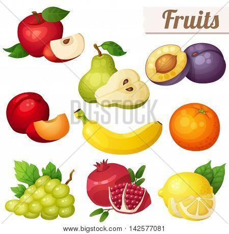 Set of cartoon food icons. Fruits isolated on white background. Red apple, pear, violet plum, red plum, banana, orange, grape, pomegranate, lemon