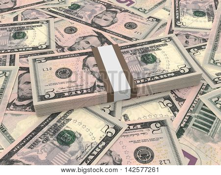 Bundle Of Five Dollars Bank Notes On The Background.
