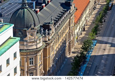 Street and architecture of Ljubljana aerial view capital city of Slovenia