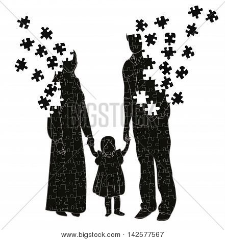 family silhouette. father, mother and child. parents break up a puzzle. conflict situations in the family.
