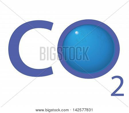 chemical symbol CO2 for carbon dioxide in blue - a globe is replacing the letter o