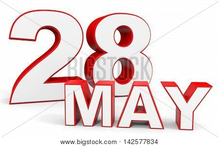 May 28. 3D Text On White Background.