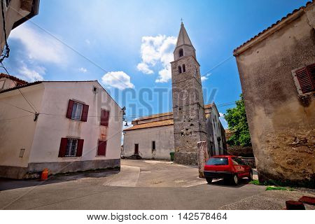 Old town of Roc square and stone church view Istria Croatia