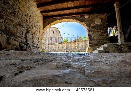 Old stone town gate of Roc Istria Croatia