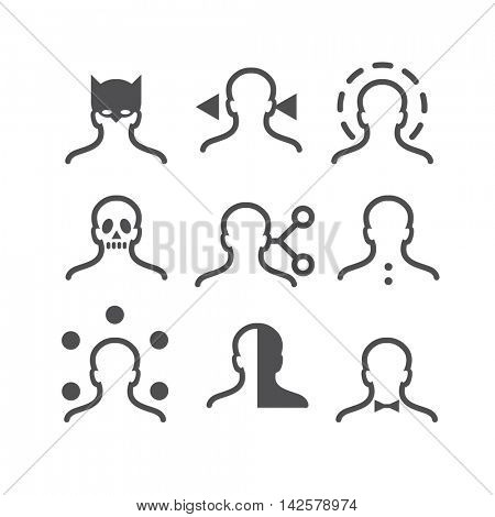 Human avatar thin line set: bat mask, direction, protection, skull, connection sharing, buttons, thought areas, half, bow