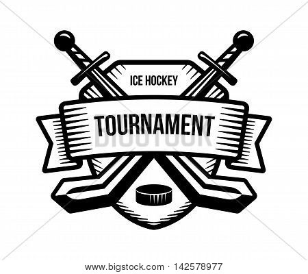 Ice hockey vector logo. Winter team sport tournament. Knight pirate buccaneer warrior sword mascot. Black and white badge shirt design.