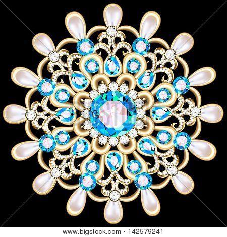 Mandala brooch jewelry, design element. Tribal ethnic floral pat