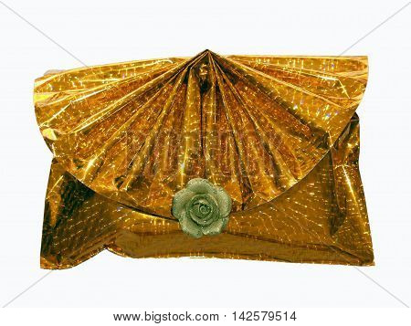 Very luxury wrapping gift with decorative flower