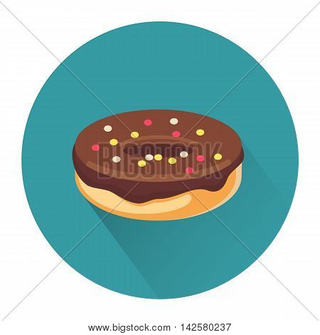 Cartoon dessert donut icon isolated on white background. Vector illustration for sweet food design. Biscuit cookie symbol. Delicious logo sign. Green brown cute color. One bright portion