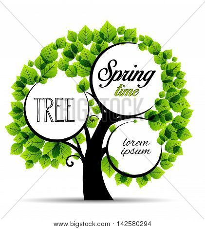 Vector illustration green tree place for text