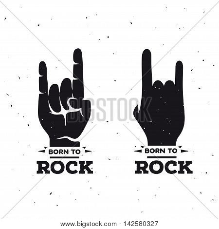 Born to rock vintage poster. Rock on hand sign. Vector illustration.