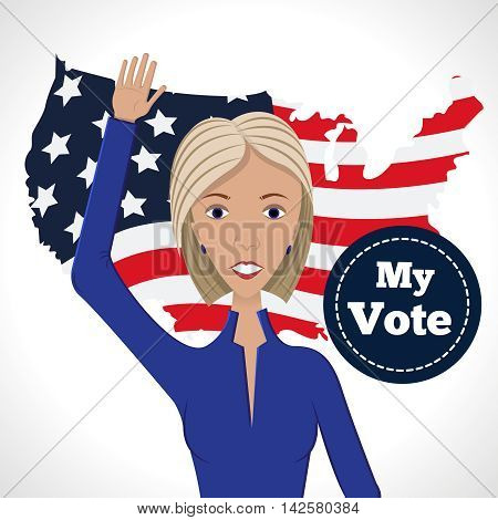 Vector illustration of american election for first woman candidate.Woman orator speech on usa election.First lady president in blue suit with badge My Vote on american country shaped flag background