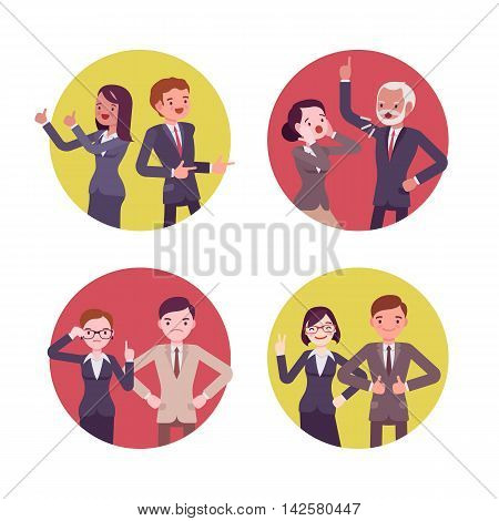 Set of four business scences. Office workers in gun poses, quarelling, positive, strict. Cartoon vector flat-style concept illustration