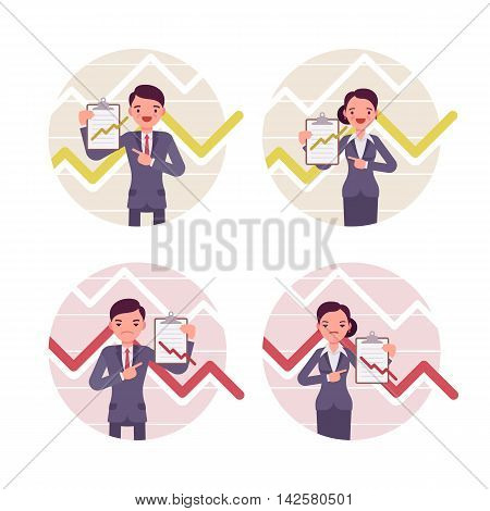 Businessmen and businesswomen with clipboard. Positive and negative charts and graphs. Set of four cartoon vector flat-style business concept illustration