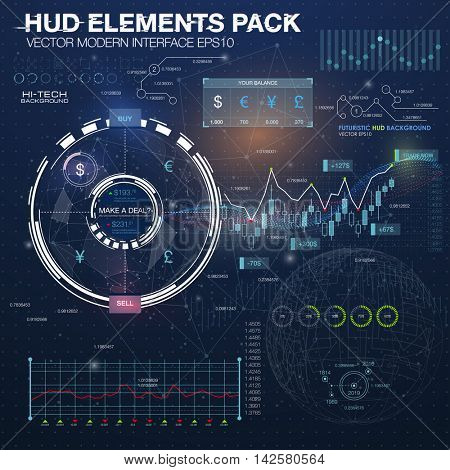 Fantastic abstract background with different elements of the HUD. Statistic and data, information infographic elements. Business abstract background. application for finance and asset trading