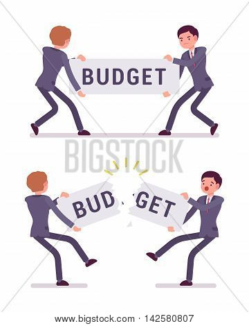 Businessmen are pulling and tearing a word budget. Cartoon vector flat-style concept illustration