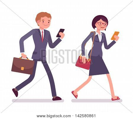 Office workers walking with smartphones. Men and women in a formal wear. The set of characters isolated against the white background. Cartoon vector flat-style business illustration
