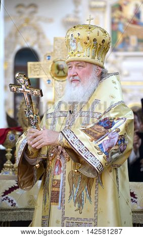 Kiev Ukraine celebration liturgy in honor of the baptism of Rus in Kiev Pechersk Lavra - 27 July 2013 -: Patriarch Kirill Gundyaev blessed closeup holding hands in a cross