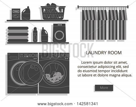 Vector black and white modern style illustration of laundry room with washing machine facilities for washing.